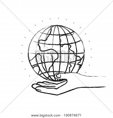 blurred silhouette hand palm giving a earth globe world charity symbol vector illustration