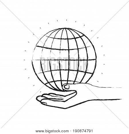 blurred silhouette hand palm giving a globe chart charity symbol vector illustration