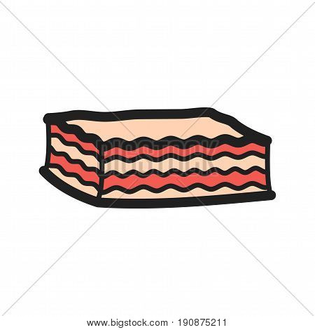 Lasagna, cheese, sauce icon vector image. Can also be used for european cuisine. Suitable for mobile apps, web apps and print media.