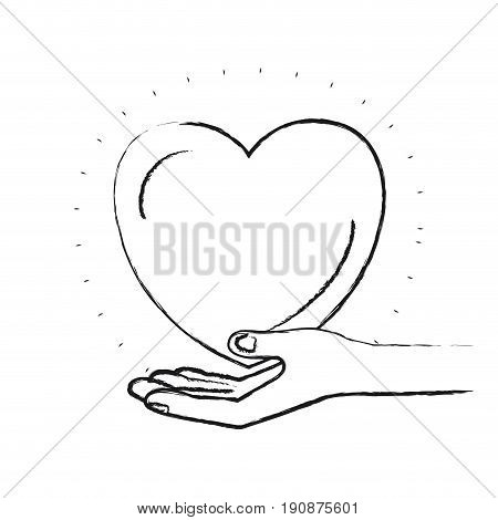 blurred silhouette hand palm giving a heart charity symbol vector illustration