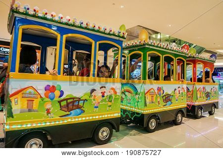 Kota Kinabalu,Sabah-May 29,2017:View of an amusement playground train inside in the Imago the famous shopping mall in Kota Kinabalu,Sabah, Malaysia.This is one of attraction for the visitor to visit Imago shopping mall.