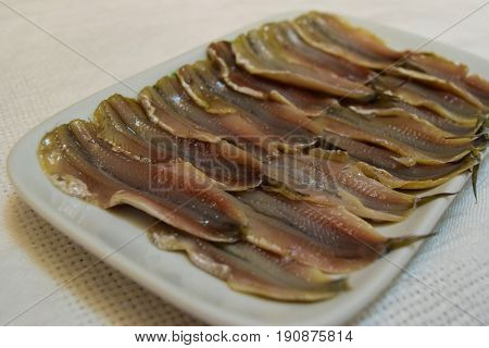 Wizened salty anchovy fish in ceramic plate on white tablecloth background