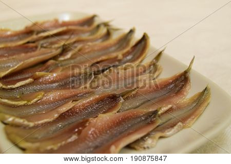Headless marinated anchovy fish in ceramic plate on white tablecloth background