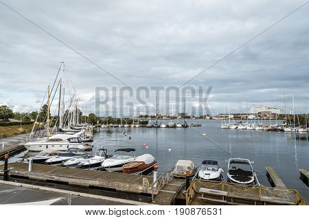 Copenhagen Denmark - August 10 2016. Private yachts moored in marina in Copenhagen a cloudy day of summer. There are many marinas and havens for berthing in Copenhagen