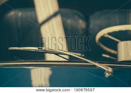 Old Car Retro Vintage Classic Vehicle Windshield And Rain Wiper.