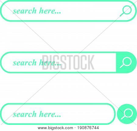 Search blue bar vector element design, set of search boxes ui template.Search icons simple design vector illustration