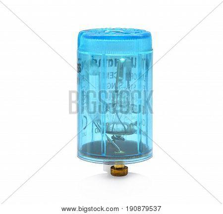 blue fluorescent light starter isolate on white background