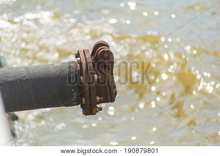 Waste Water Pipe Out To The River Or Sewer Drain Pipe.