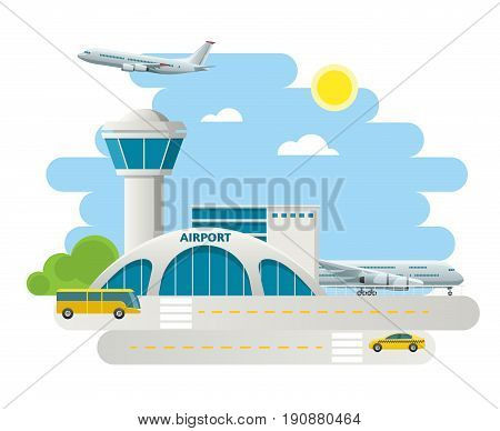 Airport building and airplanes on runway, taxi Arrivals at Airport on natural landscape background.
