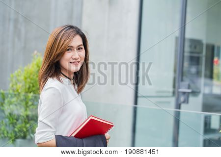 Thai Business Office Worker In Casual Wear Or Working Women Smile And Happy With Going To Work.
