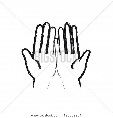 blurred silhouette front view palm of hands in symbol receiving vector illustration