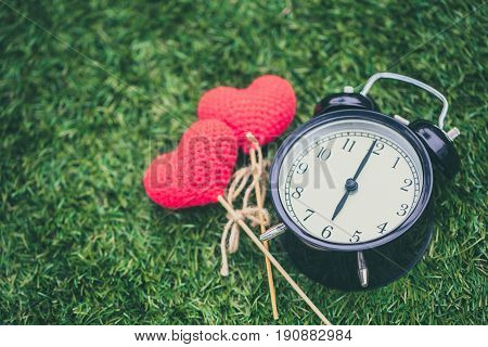 Retro Clock On Grass Time At 6 O'clock With Red Heart Yarn Wool, Sweet Love Memory Times Concept Wit
