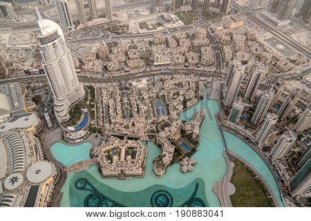 Aerial view to Dubai from the top of Burj Khalifa skyscraper - 10-01-2015 Dubai UAE