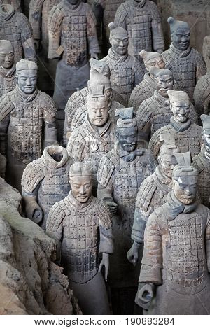 Xian China May 28 2017 The world famous Terracotta Army part of the Mausoleum of the First Qin Emperor and a UNESCO World Heritage Site located in Xian China