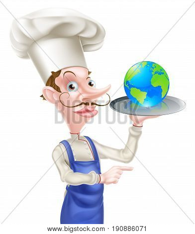 An illustration of a cartoon chef holding a tray with a world globe on it and pointing