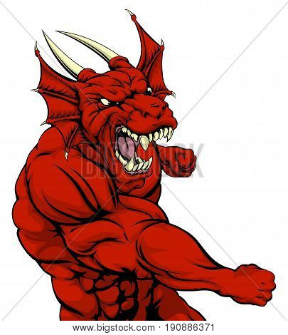 A mean looking red dragon character mascot fighting and punching with fist