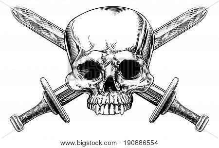 A human skull and crossed swords pirate style sign in a vintage style