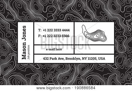 Super fashion design of a business card template. The modern trend, background contour maps and composition information in rectangular blocks. Bar fashion. Abstract wavy topographic graphics backdrop.