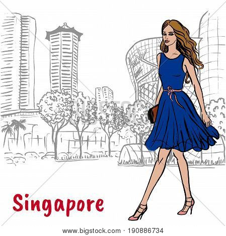Hand-drawn sketch woman on Orchard Road in Singapore