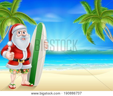 Cartoon of Santa Claus holding a surf board and giving a thumbs up in his Hawaiian board shorts and flip flop sandals on a tropical beach