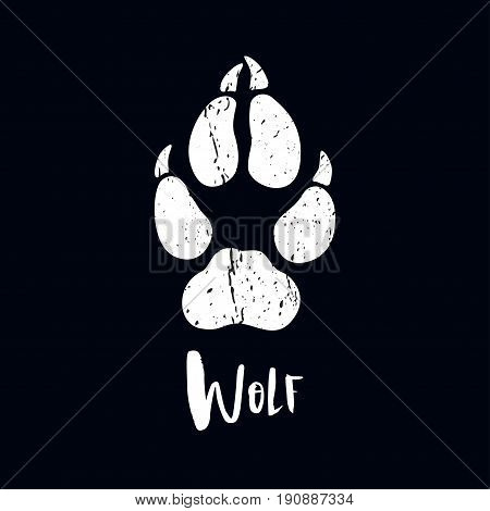 A trace from a wolf. White silhouette of foot on a black background. Vector. The sign of the print of the wolfs legs. Logo of the footprint.