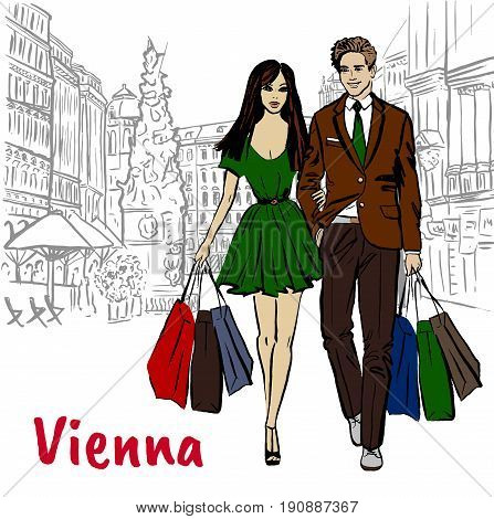 Woman and man with shopping bags in Vienna, Austria. Hand-drawn illustration. Fashion sketch