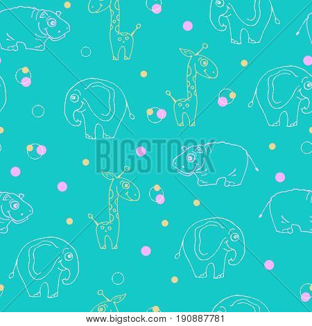 Endless pattern of animals. Giraffe, hippopotamus and elephant. Vector illustration