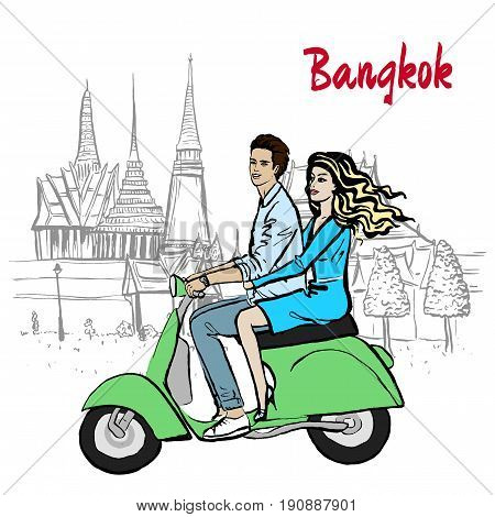 Hand-drawn sketch of couple driving scooter near Grand Palace and Wat Prakeaw, Old City of Bangkok, Thailand