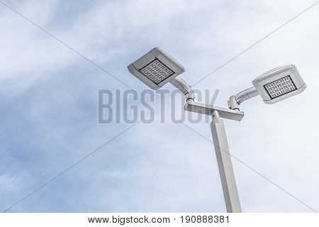 Led Street Lamp Post With Blue Sky Cloud.