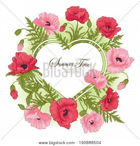Summer time card with red and pink poppy on green watercolor background. Stock line vector illustration.