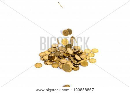 Falling Gold Coins. Money On A White Background.