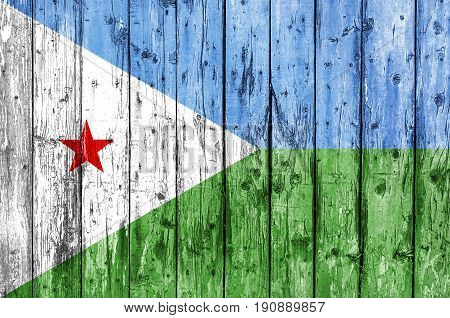 Flag of Djibouti painted on wooden frame