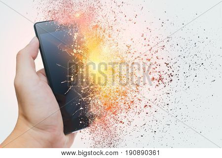 smartphone explosion blow up cellphone battery or explosive mobile phone or explode burst fire burn out smart device with dispersion effect.