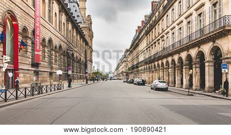Atmosphere Of The Typical Rue De Rivoli In Paris, France