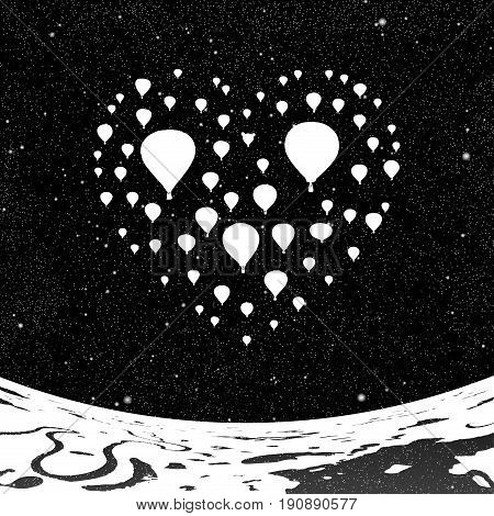 Air balloons in shape of heart at night. Vector illustration with silhouette of flying aerostats under starry sky. Landscape with rivers and lakes. Inverted black and white