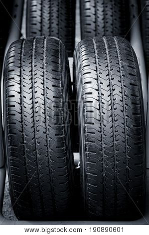Clean Tyre, Black New Shiny Car Tire, Twin Tires Of All Terrain.