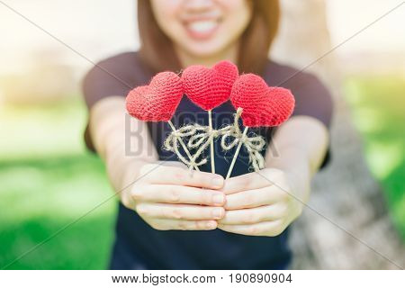New Friend Love Meeting And Date Cute Smile Asian Thai Teen Hand Hold Red Heart Sweet Loving Symbol