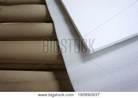 close up stack of foam in the factory