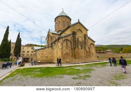 Mtskheta, Georgia - 8 October, 2016: Transfiguration Church of Samtavro Monastery, Living Pillar and the particle of the relics of the two saints is here