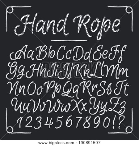 Nautical letters from hand rope. Vector thread alphabet. Illustration of string abc, vintage sea alphabet design