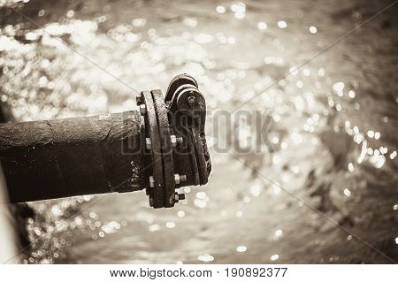 Dirty Waste Water Pipe Out To The River Or Sewer Drain Pipe Monotone Color.