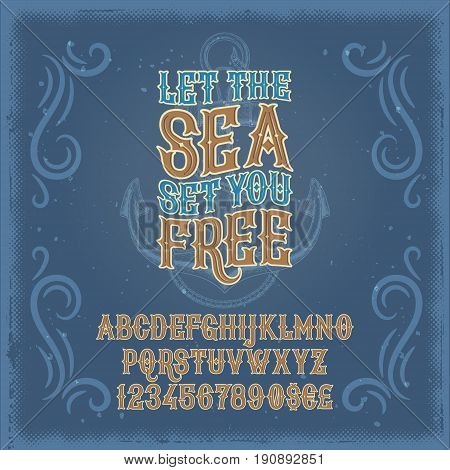 Vector illustration of a vintage font, the Latin alphabet and numerals in a retro frame and marine background. Template, design element
