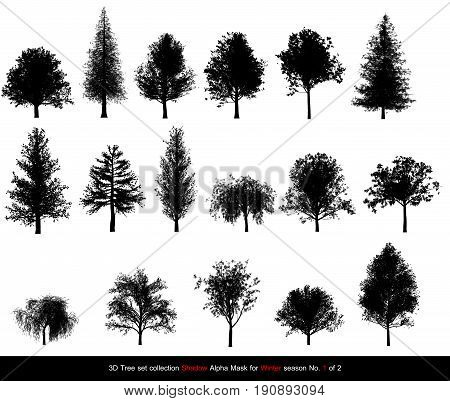 Silhouette Shadow Black Tree Or Alpha Mask Of Tree Winter Season Set For Architecture Landscape Desi