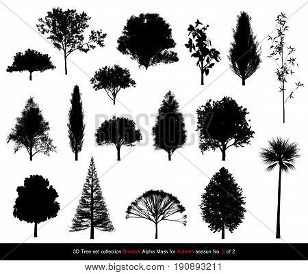 Silhouette Shadow Black Tree Or Alpha Mask Of Tree Autumn Season Set For Architecture Landscape Desi