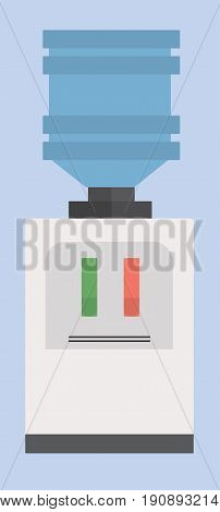 Vector illustration. Light bule water cooler. Objets office