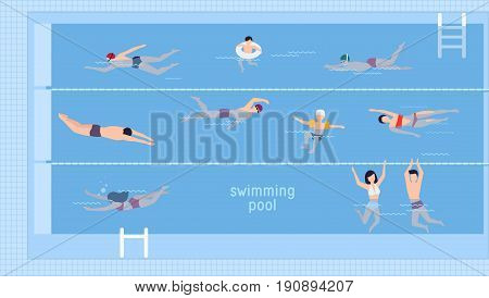 Horizontal illustration with swimmers in swimming pool. Top view. Various people and kids in water, swim in different ways. Colorful vector background in flat style with place for text