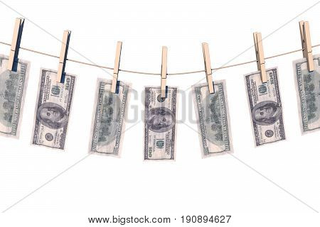 3d illustration: crumpled banknote hundred dollars to dry on the rope clothes pins attached, business concept, money laundering, offshore, illicit black cash. Green bucks.