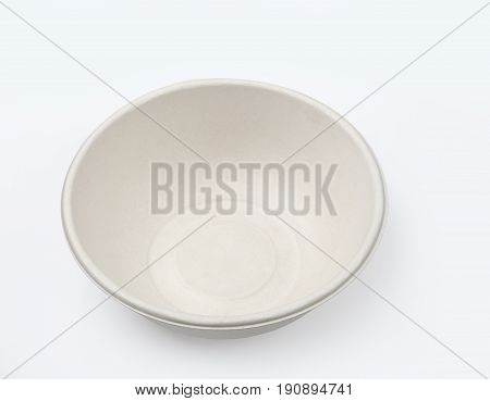 Top view of biodegradable bowl isolated on white background with clipping path Unbleached plant fiber for food.