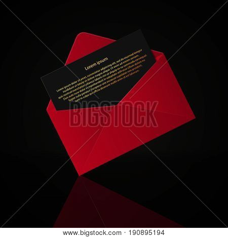 Open Red Envelope With Invitation Card Realistic Mockup Isolated Eps 10