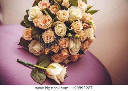 Festive bouquet of the bride, Wedding bouquet. Bride's flowers, Wedding holiday, rose